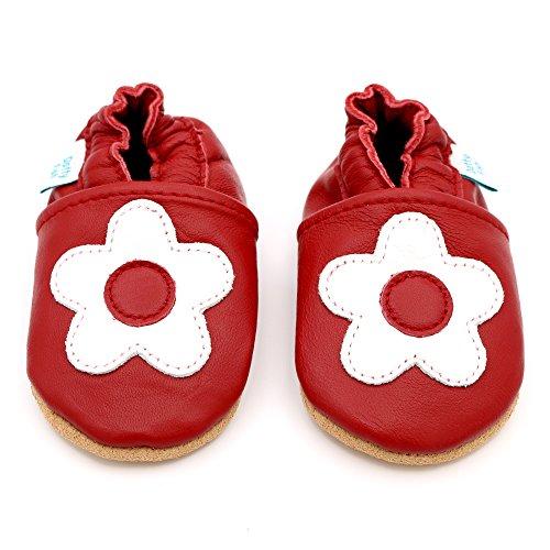 Dotty Fish weiche Lederschuhe für Babys und Kleinkinder - Erste Laufschuhe und Krabbelschuhe für Mädchen - Größen 16 - 28 (Neugeborene - 3-4 Jahre) Rote und weiße Blumen-