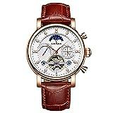 Armbanduhren,Kinyued Skeleton Mechanische Uhren Herren Classic Rose Gold Tourbillon Automatikuhr Herren Mondphasenkalender, G