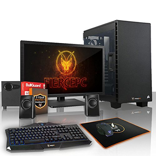 Fierce Guardian High-End Gaming PC Bundeln: 4.0GHz 4-Core AMD Ryzen 5 2500X, 1TB SSHD, 16GB, NVIDIA GeForce GTX 1060 6GB, Tastatur (QWERTY), Maus, 24-Zoll-Monitor, Lautsprecher 389986