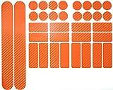 Finest Folia 34 Teiliges Fahrrad Rahmen Schutzfolie Folie Aufkleber Schutz MTB BMX Kette Lackschutzfolie (Carbon Orange)