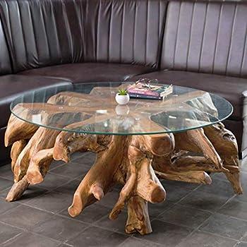 Design Wurzelholz Couchtisch Naga Glasplatte 100 cm