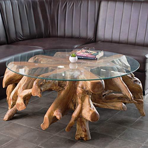 Wurzeltisch mit Glasplatte ca. 100 cm | Teakholz Tisch aus Einer Wurzel | Wurzelholz Tisch aus nachhaltigem Anbau | Jeder Teakholz Couchtisch EIN Unikat | Teak Wurzel Tisch aus natürlichem Holz