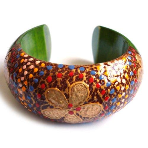 Idin-Braccialetto con motivo a fiori verde in legno Bangle (6,5)