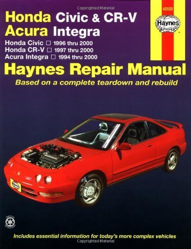 Honda Civic 1996-2000, Honda CR-V 1997-2000 & Acura Integra 1994-2000 (Haynes Automotive Repair Manual) 1st edition by Larry Warren, Alan Ahlstrand, John H. Haynes (2001) Paperback - 1998 Honda Acura
