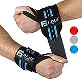 Handgelenkbandage Premium Qualität (2er Set) - Wrist Wraps 45 cm - Profi Bandagen für Fitness, Kraftsport, Bodybuilding & Crossfit Training - Hochwertige Handgelenkstütze- 2 Jahre Gewährleistung (schwarz/blau)