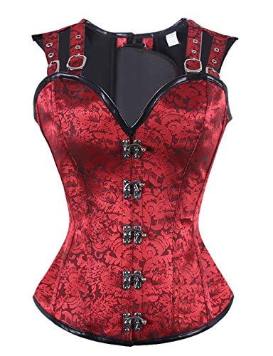 FeelinGirl Damen Korsett mit Stahlstäbchen - Brokatmuster - Retro/Gothic/Steampunk-Stahl ohne Knochen, Mesh-rot, XL(EU 40)