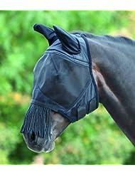 Shires Muselière Masque anti-mouches en maille fine avec frange