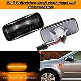 2x TOP Qualität LED Yellow Orange Leuchtstreifen Seitenblinker Seitenblinkerleuchte Blinkerleuchte Blinker leuchte Schwarz Smoke (170802)