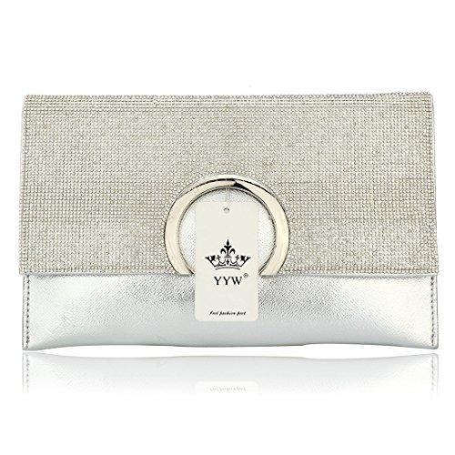 HT  Party Handbag, Damen Clutch Silber