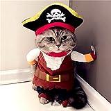 ZUNEA Halloween Hund Mantel Piraten Kostüm mit Verstellbaren Hut Kleine Haustier Katze Kleidung L