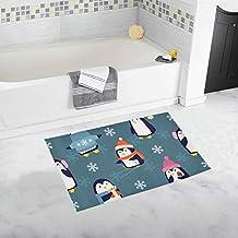 JSXMNA tapete de baño Antideslizante Personalizado con diseño de pingüinos de Navidad, tapete para baño