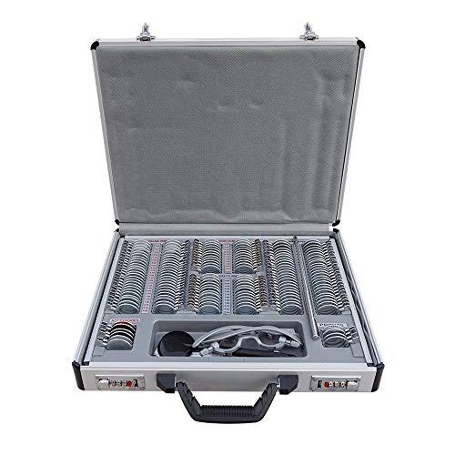 HUKOER Optische Versuchslinse, Brille Optometrie-Ausrüstung 158-tlg. Metallfelge Aluminium mit Free Trial Frame