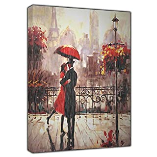 Couple with RED Umbrella Under RAIN in Paris Print ON Framed Canvas Wall Art 34'' x 24''inch -18mm Depth