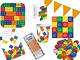 PGH/Diverse 75-TLG. Partyset Bausteine - für 8 Kinder - Partygeschirr und Zubehör