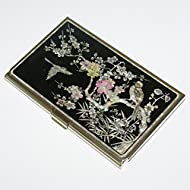 Mère de perle crème hydratante UME Fleur Métal Acier inoxydable porte de Visite pour carte d 'identification avec étui de rangement