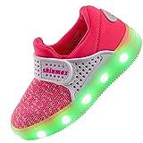 ?2016 Shinmax Primavera-Verano-Otoño Transpirable Zapatillas LED Nueva Led Zapatos de Deporte de Zapatillas LED Niños de 7 Colores LED con CE Certificado 00123 (37, Rosado)