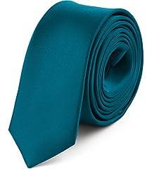 Idea Regalo - Ladeheid Cravatta Slim Uomo SP-5 (150cm x 5cm, Smeraldo Scuro)