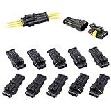 10 Set Steckverbinder Wasserdicht 3-polig Schnellverbinder Superseal Stecker Steckverbindung KFZ LKW Auto für 2,5mm Leistungsdurchmesser