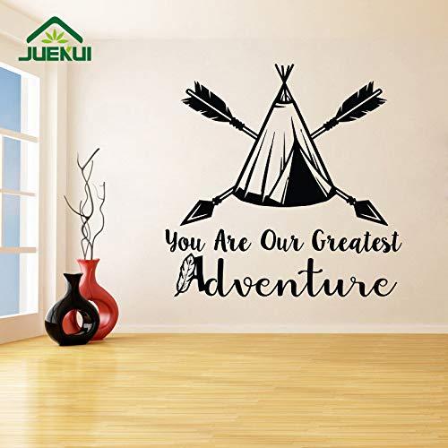 jiushizq Sie sind unser größtes Abenteuer Hipster Stil entfernbare Wandaufkleber für Kinderzimmer Kinderzimmer Vinyl Wandtattoos Wohnzimmer weiß 100X100cm