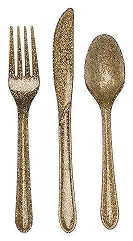 Reusable Gold Glitter Plastic Cutlery Set - 24 Pieces