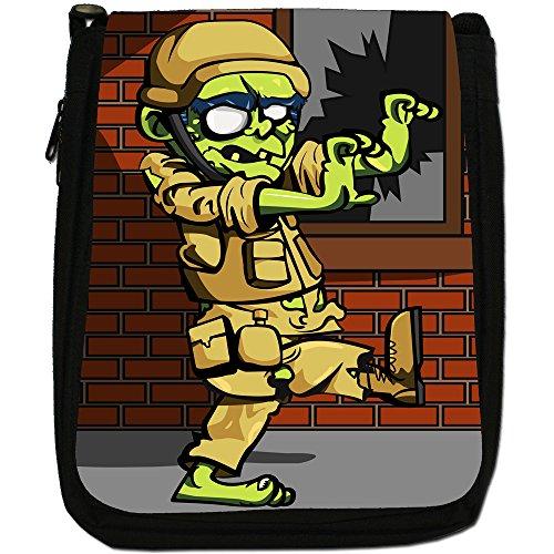 Zombie Plague-The Living Dead-Borsa a tracolla in tela, colore: nero, taglia: M Army Soldier Zombie