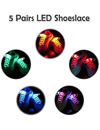 2win2buy 5 Pares Cordones de Zapatos Deportivos Casual Brillante de Moda Cordones de Zapatos LED Luminoso Impermeable Cadenas Zapatos Brillantes Discoteca Fiesta Noctura …