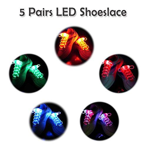 2win2buy 5 Paia Lacci delle Scarpe LED Luminosi Impermeabile Lacci per le Scarpe Scarpe da Ginnastica Casual Si accendono Moda Stringhe delle Scarpe d'ardore Discoteca Festa di Notte
