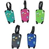 5Pcs Etichette Valigie Aereo Colorate Accessori per Bagaglio Silicone Tag per Borsa da Viaggio,Bagaglio Etichetta Nome titola