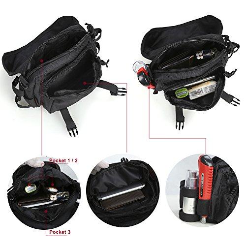 Pellor Angewandte Utility Taschen Multi-Funktionen Abnehmbare Tactical Fanny-Satz Intelligente Taschen Sling Reise Hüfttasche Touristentaschen Schwarz
