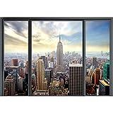 decomonkey Fototapete selbstklebend New York Stadt City 343x256 cm XXL Selbstklebende Tapeten Wand Fototapeten Tapete Wandtapete klebend Klebefolie Fenster
