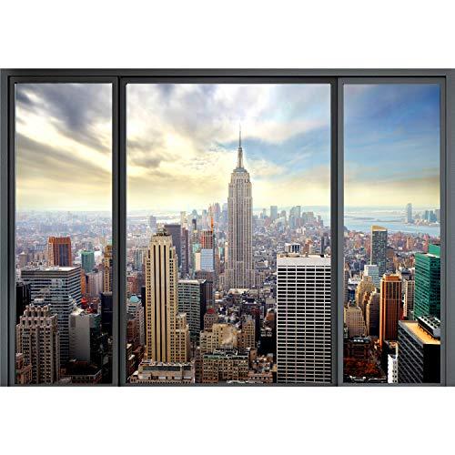decomonkey Fototapete New York Stadt City 250x175 cm XL Design Tapete Fototapeten Vlies Tapeten Vliestapete Wandtapete moderne Wand Schlafzimmer Wohnzimmer Fenster