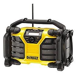 DeWalt Akku- und Netz-Radio / Baustellenradio (DAB+ mit Ladefunktion für 10,8 - 18 Volt XR Li-Ion Akkus, AUX-Eingang, USB-Anschluss, 2m Netzanschlusskabel), DCR017