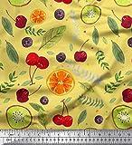Soimoi Gelb Baumwoll-Voile Stoff Blätter, Kiwi & Kirsche