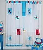 NOVITESSE Kinder Vorhang Gardine Dekoschal blau und pink für Kinderzimmer 180X100 mit Schlaufen Pink und Blau (Blau)