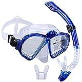 Supertrip Premium Schnorchel-Set für Erwachsene mit 2Mundstücken, Tauchermaske, Schnorcheln, Tauchen, Schwimmbrillenmaske, Trockenschnorchel-Set mit Kamerahalterung, blau