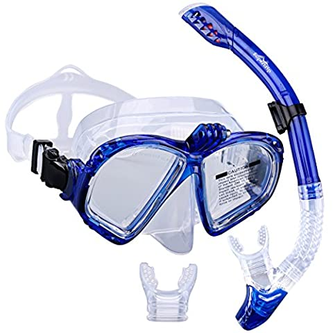 Supertrip Premium Snorkel Set Adult with 2 Mouthpieces Diving Mask Snorkeling Diving Swimming Goggles Mask Dry Snorkel Set with Camera Mount Color Blue