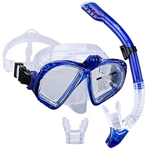 Supertrip Premium Schnorchelset erwachsene Taucherbrille mit Schnorchel Tauchset Tauchmaske gopro mit kamera halterung Tauchen dry Schnorcheln Set Colour Blau