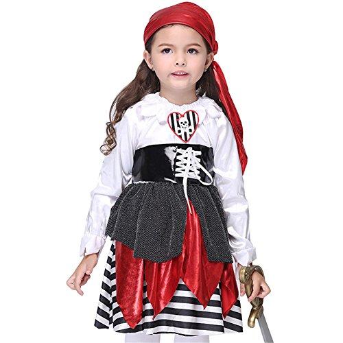 Mädchen Halloween Piraten Kostüme Kleid KarikaturKostüm Cosplay Piratenkleid PiratenKostüme für Kinder Elegentes Halloween Kostüme kleid TanzKostüme Bühnentracht (Kostüme Plus Herren Piraten Size)