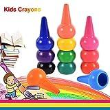 Anteel Finger Wachsmalstifte, Handflächen Wachsmalstifte für Kinder, 12 Farben 3D Buntstifte Sticks Stapelbare Spielzeug für Jungen und Mädchen, Sicherheit und Ungiftig