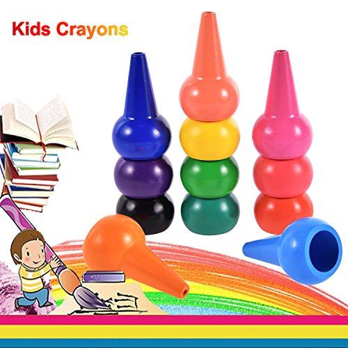 Anteel Crayones con los Dedos para Niños, 12 Colores 3D Lápices de Colores de Pintura Palos Juguetes Apilables para Niños y Niñas, Seguridad y No Tóxico