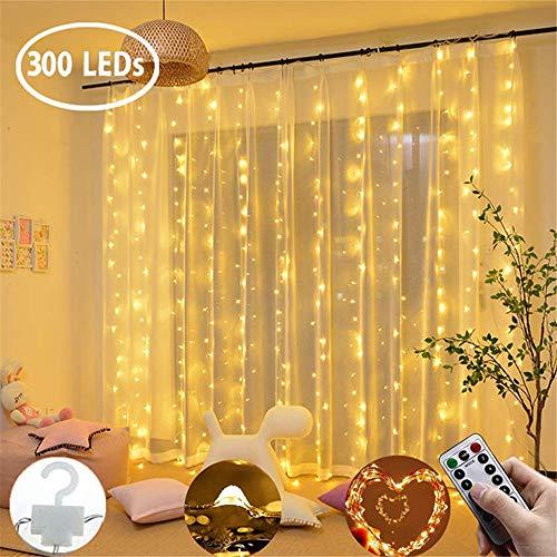Kostüm Weihnachten Schlafzimmer - SDYDY Vorhang Licht 300 LED USB8 Funktion +13 Schlüssel Fernbedienung Dekoration Fairy Light Vorhang Schlafzimmer Weihnachten Hochzeit Garten