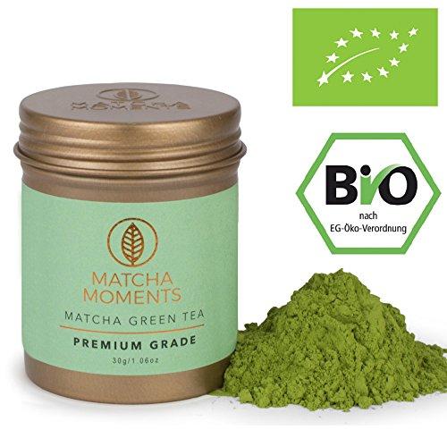 Matcha Moments [Aus Vogue Magazine] Bio Matcha Pulver Premium Grade 30g | Grüntee aus Japan | Fair und Nachhaltig | Mixen | Latte Smoothie Ice Tea