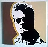 BRAD PITT - QUADRO MODERNO - PANNELLO LEGNO MDF DIPINTO A MANO - POP ART EFFECT (formato 40 x 40 cm)