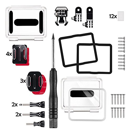 Mantona GoPro Spare Part Set (Ersatzlinse, GoPro Schraube, Befestigungsset, Gehäusedeckel, Pivot Adapter Arm uvm.) (Gehäusedeckel-schrauben)