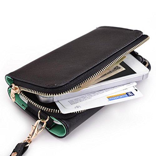 Kroo d'embrayage portefeuille avec dragonne et sangle bandoulière pour Samsung Galaxy Express 2 Multicolore - Black and Orange Multicolore - Black and Green