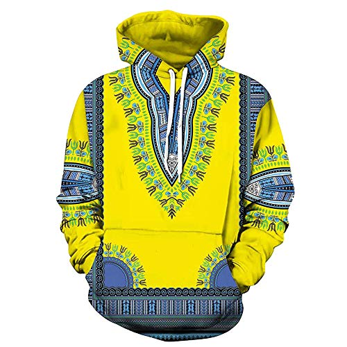 FRAUIT Herren 3D Drucken Kapuzenpullover Hoodie Sweatshirt Afrikanischer Druck Kapuzenpulli Herbst Winter Männer Langarm Dashiki Hoodies Sweatshirt Top Full Zip Heavyweight Parka