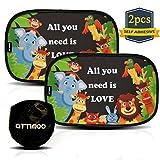 ATTIMOO - Tendine Parasole Auto Bambini Universali Adesive Di 2a Generazione | Kit Di 2 Tende Parasole Senza Ventose | Accessori Auto Coppia Di Tende Da Sole 51x31 Cm | Tendine Da Sole Con Animali
