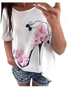 HUI.HUI Blusa de Mujer Camiseta de Manga Corta Blusas Sueltas Ocasionales Tacones Altos Impreso