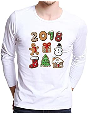 WINWINTOM Hombres Talla Extra Christmas Navidad Tees Camisa Manga larga Blusa