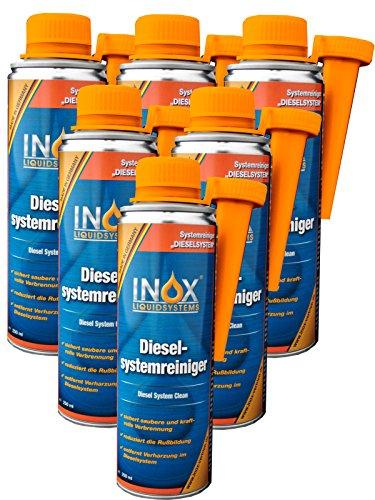 INOX® Diesel-Systemreiniger Additiv, 6 x 250ml - Dieselzusatz für alle Dieselmotoren löst Verschmutzung und Verharzung im Dieselsystem